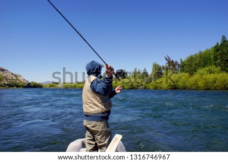 Fly fishing on the Chimehuin River  #1316746967