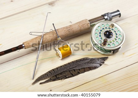 fishing rod and reel. Fly fishing rod and reel
