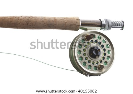 Fishing  on Stock Photo   Fly Fishing Rod And Reel With A Yellow Popping Bug