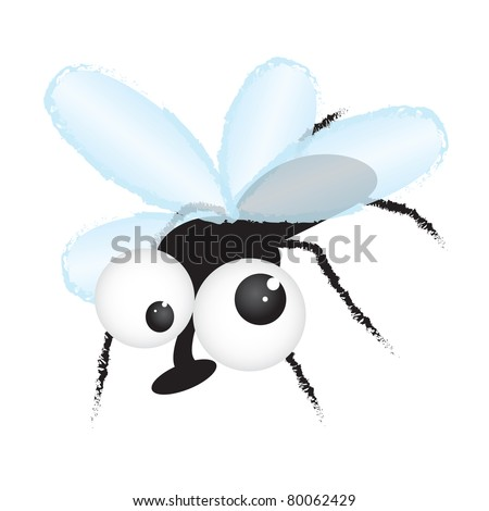 Fly - funny cartoon illustration - raster version of vector ID 79202536