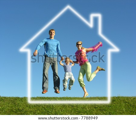 fly happy family with dream house - stock photo