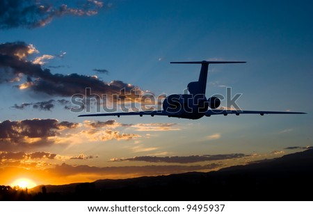 Fly to sunrise airplane photo