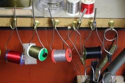 Fly tying bobbins  with thread