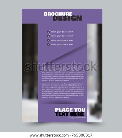 Flyer template design. Abstract brochure or anual report layout. Vector illustration. Purple color. #765380317
