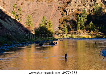 Flyfishing for steelhead on a beautiful river