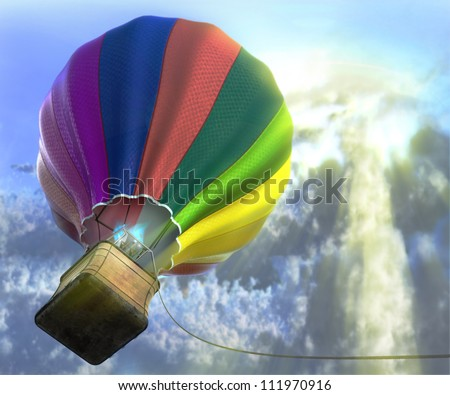 flying aerostat with basket, sun flare and cloud layer, and place for text