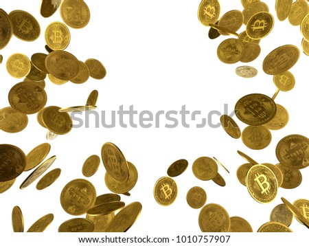 Flying and falling bitcoins with free space in the middle. White background. Money exchange cryptocurrency concept. High resolution photo.