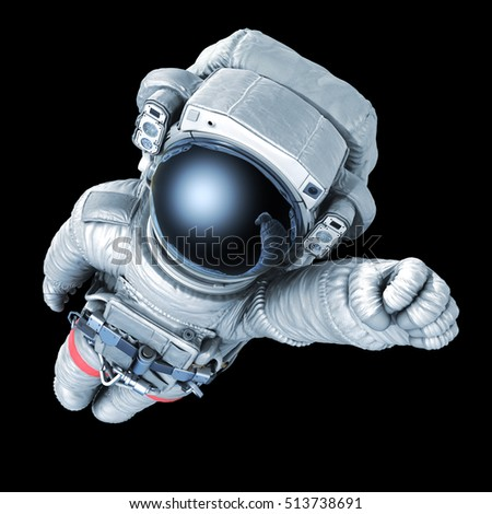 Flying astronaut on a black background, 3d render with a work path