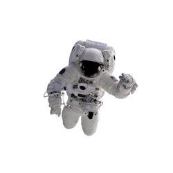 Flying astronaut on a white background. Some components of this image are provided courtesy of NASA, and have been found at nasaimages.org