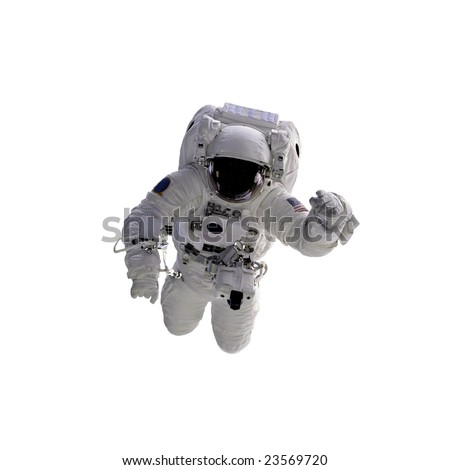 Flying astronaut on a white background. Some components of this image are provided courtesy of NASA, and have been found at nasaimages.org #23569720