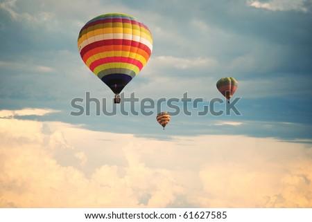 Flying balloon during sunset