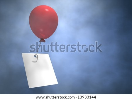Flying balloon with message on paper