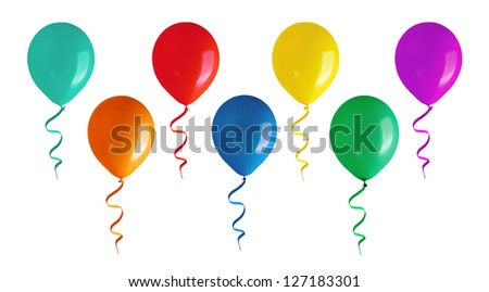 Flying balloons.Isolated on white