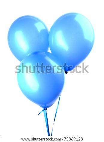 Flying balloons isolated on white