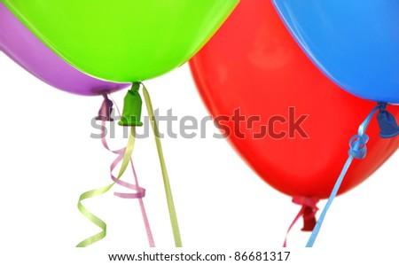 Flying balloons on white background