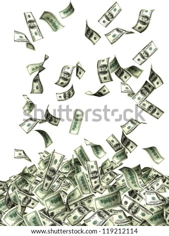 Flying banknotes of dollars. Isolated over white