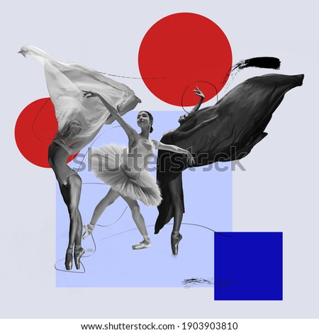 Flying bird. Ballet dancers with flying cloth. Copyspace. Modern design. Contemporary art. Creative conceptual and colorful collage surrealism style. Geometry figures background, red and blue