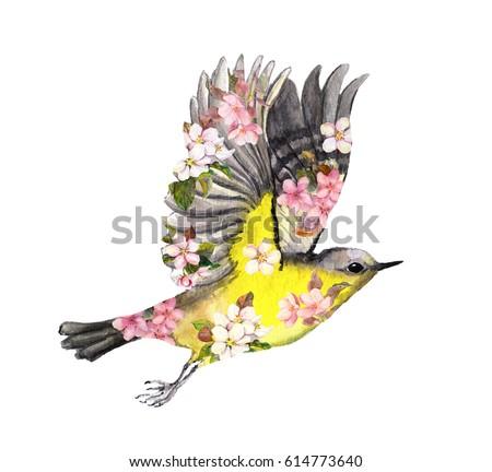 flying bird in flowers....