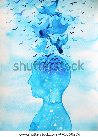 flying birds free and relax mind with open blue sky, abstract watercolor painting design illustration background