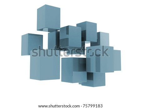 Flying blue cubes isolated on white