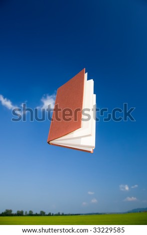 Flying book over a clear blue sky, vertical orientation. The text of the book is been blurred to avoid copyright issues.