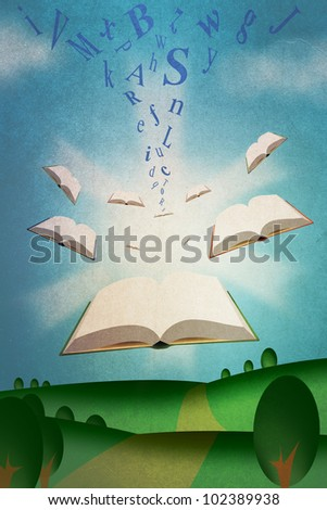 Flying Books Illustration with Roman Alphabet Texts