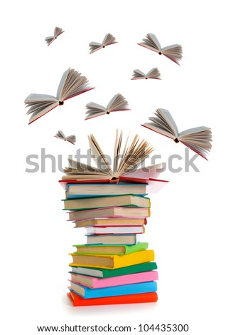 Flying books on white background