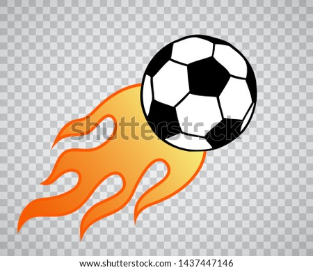 Flying burning soccer, football ball with flame illustration over transparent background. Sport game equipment on fire.