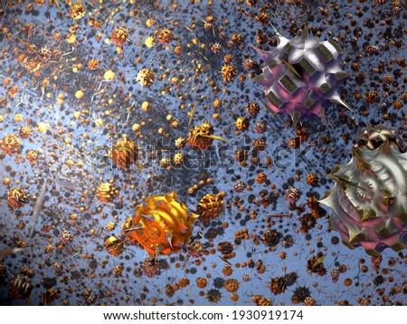 Flying calculated Mandelbulb fractals that appear like an armada of viruses. 3d fractal graphic, part of a huge fractal, calculated with Mandelbulb 3D program, JPEG Grafik Foto stock ©