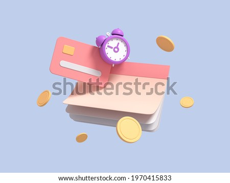 Flying calendar, checkbook, with coins, alarm clock and credit card on blue isolated background symbolizing quick loan. Fast money concept. 3d render
