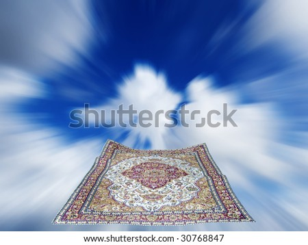 flying carpet in a blue cloudy sky