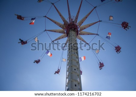 Flying chairs at the fair. Paris. France Foto stock ©