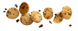 Flying Chocolate chip cookies with pieces of chocolate isolated on white background. High resolution image.
