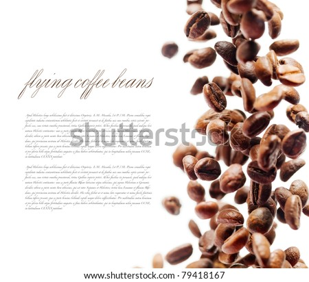 Flying coffee beans. Falling coffee beans isolated over white with sample text. Cafe menu or brochure template. Natural lens blur with small depth of field.