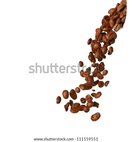 Flying coffee beans isolated on a white background