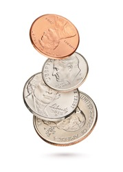 Flying coin stack with US 1, 5, 10, 25 cents isolated in white background