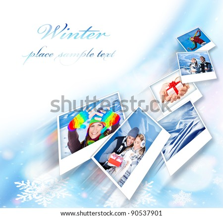 Flying collage, winter photo border, abstract snowflake decoration with set of many concept pictures, blue ornamental design with white copy space, holidays and happy people fun outdoor images