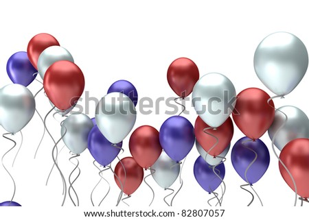 flying colorful balloons on a white background - stock photo