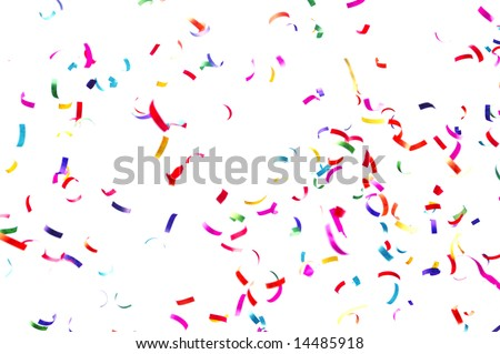 Flying colorful paper ribbon on celebration with white background.