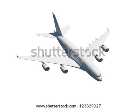 Flying commercial airplane, isolated on white background.