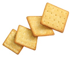 Flying delicious crackers, isolated on white background