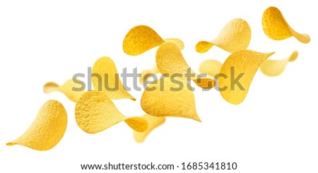 Flying delicious potato chips, isolated on white background Stock fotó ©