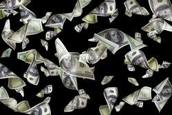 Flying dollars isolated on black background