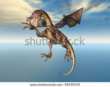 Flying Dragon Computer generated 3D illustration