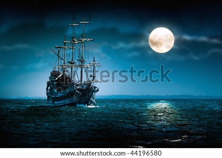 stock photo : Flying Dutchman ship sailing in the Moon light.