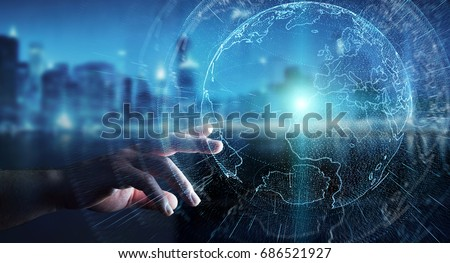 Flying earth network interface activated by businessman on blurred background 3D rendering #686521927