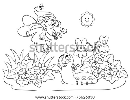 Flying fairy with cute baby caterpillar in the grass. Cartoon coloring illustration for children.