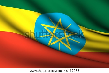 Flying Flag of Ethiopia   All Countries Collection   - stock photo