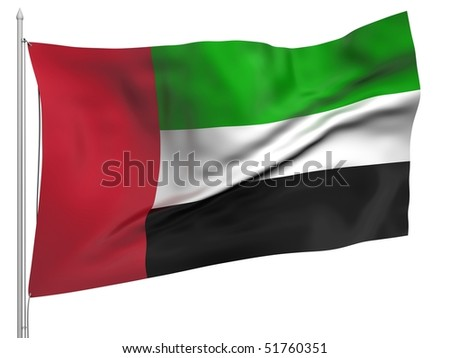 Flying Flag of United Arab Emirates - All Countries Collection.
