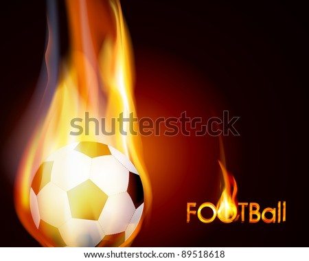 flying flaming soccer ball on a brown background (JPEG version)